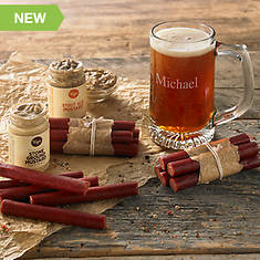 Barbeque Beef Sticks with Mustards and Personalized Mug