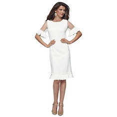 Short-Sleeve Ruffle Sheath Dress