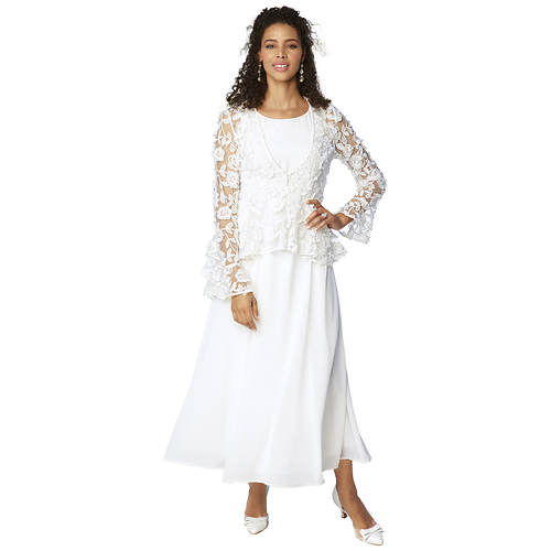 Flowing Dress and Lace Jacket Set