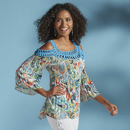 Pleated Paisley Cold Shoulder Top
