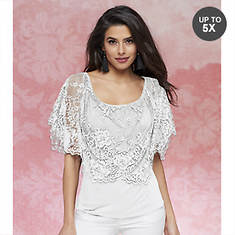 Lace Cape Knit Top