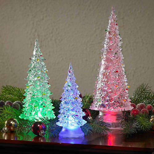 Set of 3 LED Lighted Acrylic Trees