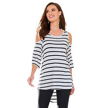 Cold Shoulder Striped Shirt