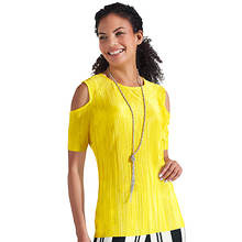 Pleated Cold Shoulder Top
