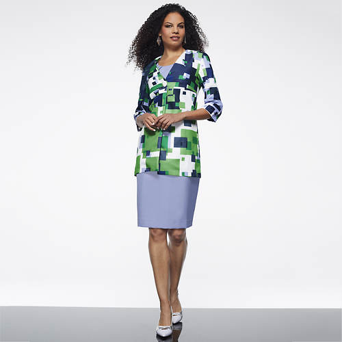 Printed Jacket and Sheath Dress