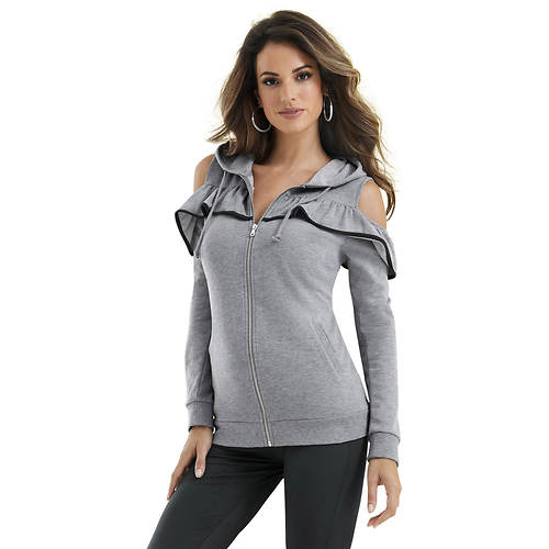Cold Shoulder Ruffle Hoodie