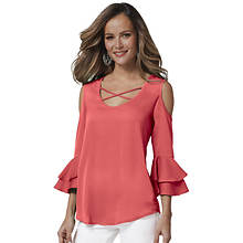 Cross-Front Cold Shoulder Ruffle Top