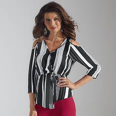 04c0c76840a36 Striped Cold Shoulder Top
