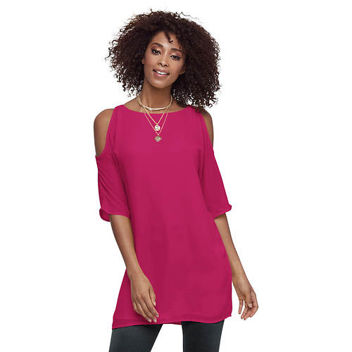 Cold-Shoulder Chiffon Tunic