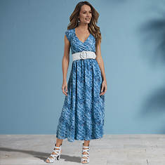 Belted Chiffon Maxi Dress