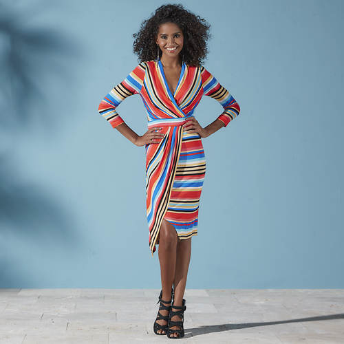 Multi-Colored Striped Wrap Dress