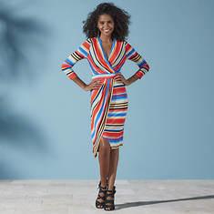 Multi-Colored Striped Wrap Dress