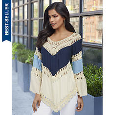 Color-Blocked Crocheted Tunic