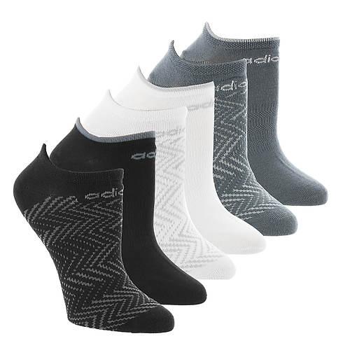 adidas Women's Superlite Ratio Print 6-Pk No Show Socks