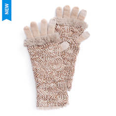 MUK LUKS Women's Rose Gold Cable 3-in-1 Gloves