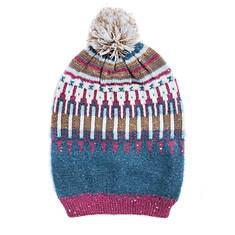 MUK LUKS Women's Fairisle Fantasy Diamond Slouch Hat