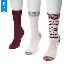 MUK LUKS Women's 3-Pair Pack Boot Socks