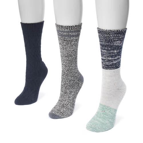 MUK LUKS Women's 3-Pair Pack Boot Socks