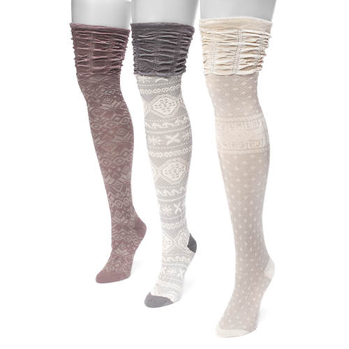 MUK LUKS Women's 3-Pair Microfiber Pattern Over the Knee Socks