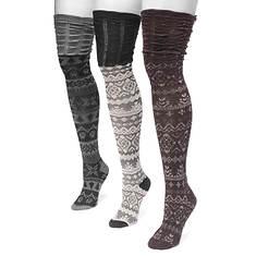 MUK LUKS Women's 3-Pair Microfiber Pattern Over the Knee Socks