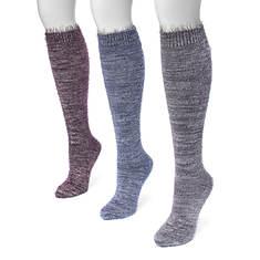 MUK LUKS Women's 3-Pair Feather Yarn Knee Socks