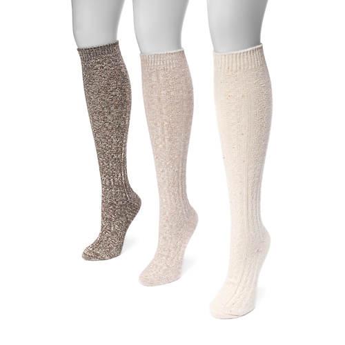 MUK LUKS Women's 3-Pair Cable Knee High Socks