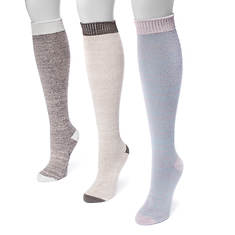 MUK LUKS Women's 3-Pair Heel & Toe Knee Socks