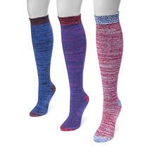 MUK LUKS Women's 3-Pair Heel & Toe Knee Socks