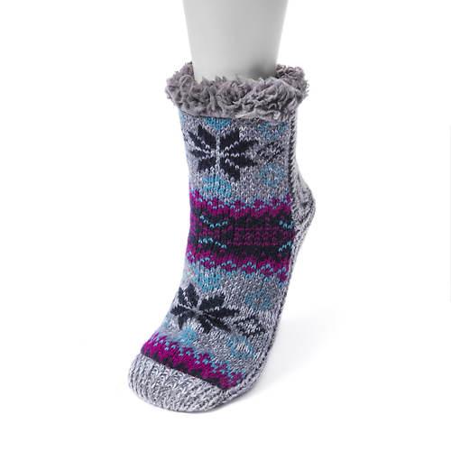 MUK LUKS Women's 1-Pair Pieced Cabin Socks