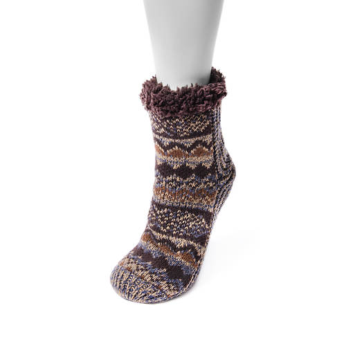 MUK LUKS Women's 1-Pair Pieced Cabin Socks