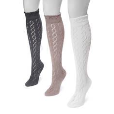 MUK LUKS Women's 3-Pair Pointelle Knee High