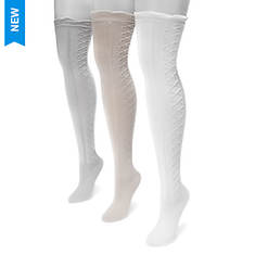 MUK LUKS Women's 3-Pair Lace Texture Over the Knee Socks