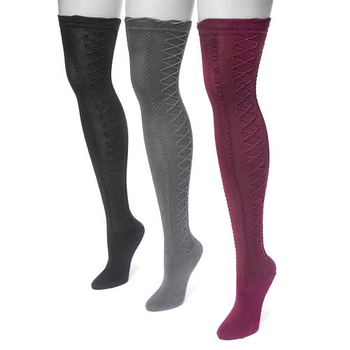 MUK LUKS Women's 3-Pair Lace Texture Over the Knee Socks