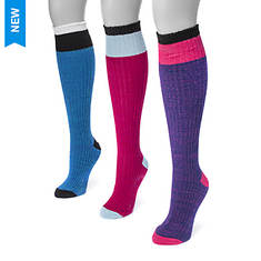 MUK LUKS Women's 3-Pair Color Block Knee Socks