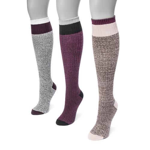 MUK LUKS Women's 3-Pair Color Block Knee Socks