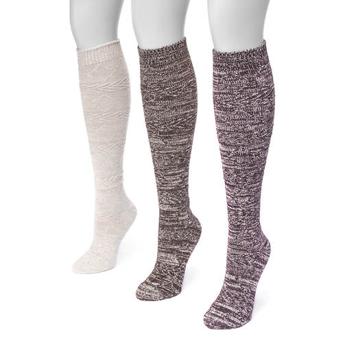 MUK LUKS Women's 3-Pair Diamond Knee High Socks