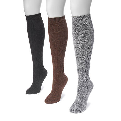 MUK LUKS Women's 3-Pair Crosshatch Knee Socks