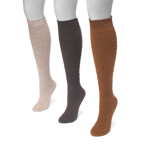 MUK LUKS Women's 3-Pair Snowflake Knee Socks
