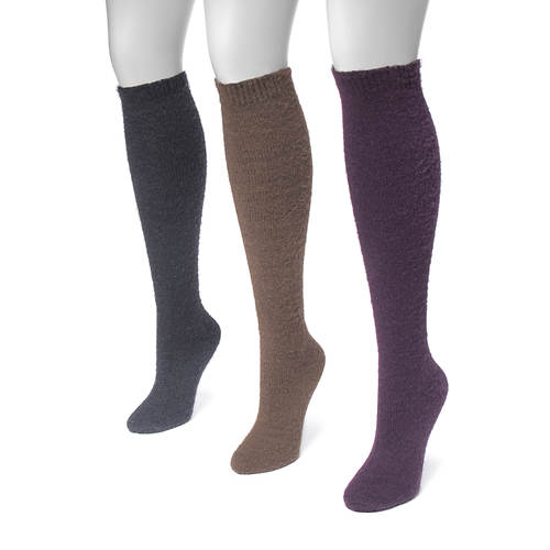 MUK LUKS Women's 3-Pair Fuzzy Yarn Knee Socks