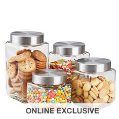 4-Piece Square Glass Canister Set