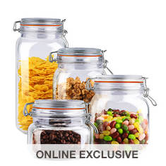 4-Piece Glass Jar Canister Set