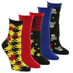 Betsey Johnson 5-Pack Fashion Crew Socks
