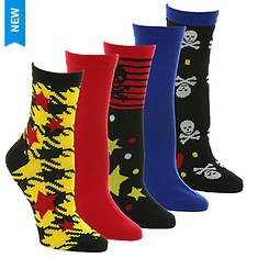 Betsey Johnson 5PK Fashion Crew Socks