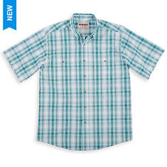 Wrangler Men's Wrinkle Resist Plaid Short-Sleeved Shirt
