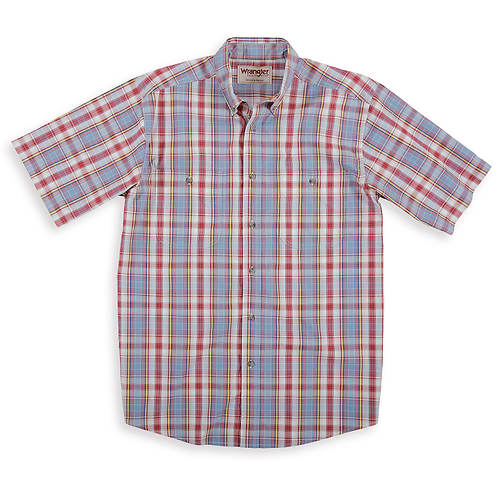 Wrangler Men's Wrinkle Resist Plaid Short-Sleeved Shirt