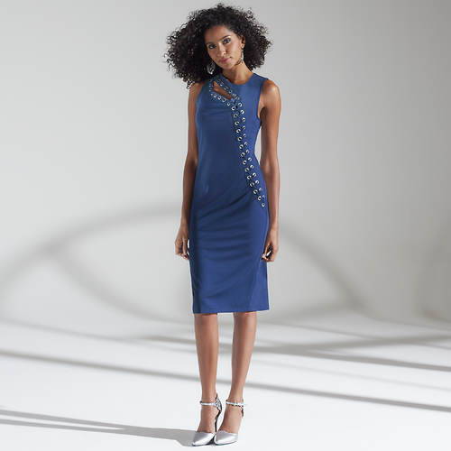 Grommet Ponte Sheath Dress