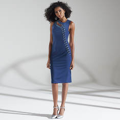 Grommet Ponte Sheath Dress