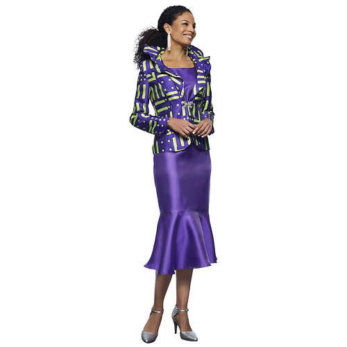 Three-Piece Skirt Suit with Rhinestone Buckle