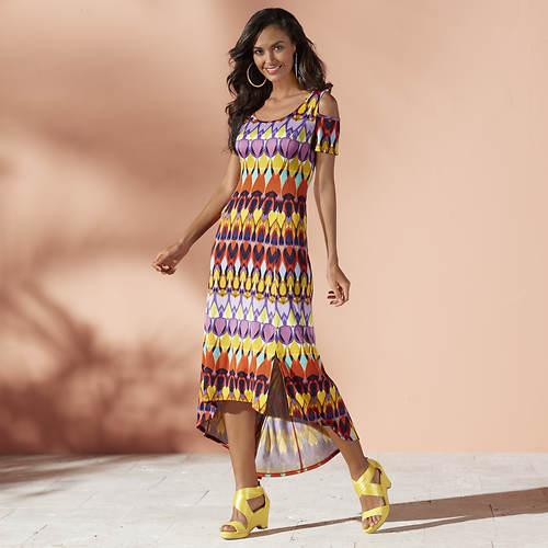 Cold Shoulder High-Low Maxi Dress