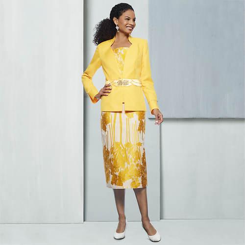 Three-Piece Jacquard Tree-Print Suit